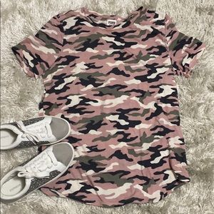 PINK VS Pink Camo Crew Neck Short Sleeve Tee Shirt